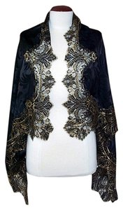 Edward Cromarty Art Design Studio Silk Shawl with Black & Gold French Lace, 53 x 37