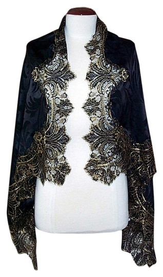 Preload https://item5.tradesy.com/images/edward-cromarty-art-design-studio-black-and-gold-silk-shawl-with-french-lace-53-x-37-scarfwrap-2124914-0-1.jpg?width=440&height=440