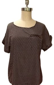 Cynthia Rowley Top Black And Beige Print.