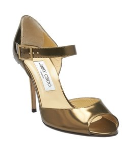 Jimmy Choo Mary Jane Patent Leather Bronze Pumps