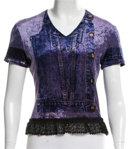 Dior Velvet Logo Print Diorissimo Monogram Top Purple, Black