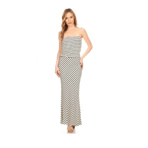 White and Black Stripe Maxi Dress by York Couture