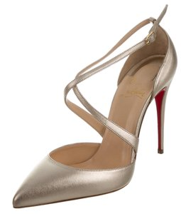 Christian Louboutin Maltaise Pointed Toe Strappy Metallic Hardware Gold Pumps