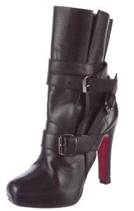 Christian Louboutin Platform Square Toe Ankle Strappy Silver Hardware Black Boots