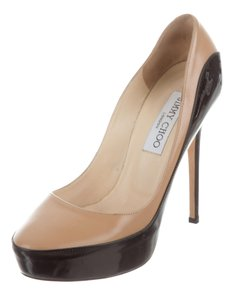 Jimmy Choo Round Toe Hidden Platform Color-blocking Sepia Anouk Beige, Black Pumps