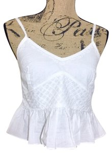 MINKPINK Eyelet Embroidered Peplum Ruffle Crop Top White