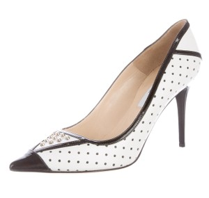 Jimmy Choo Pointed Toe Studded Perforated Hardware White, Black, Silver Pumps