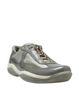 Prada Sneakers Patent Leather Nylon Grey Athletic