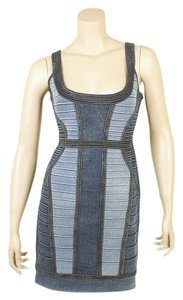Herv Leger Aja Indigo Blue Blue Cotton & Nylon Dress Dress, Size L (122149)