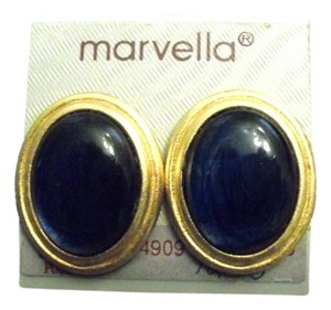 Marvella Minty Marvella Blue Glass Lovely Earrings 70s 80s