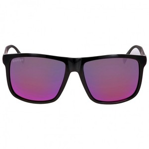 Gucci GUCCI Shiny Matte Black Square Sunglasses