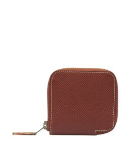 Hermès Hermes Azap Brown Leather Zippered Coin Purse (120693)