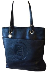 Tommy Hilfiger Leather Pebbled Tote in black