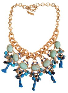 Lydell NYC Chic Lydell NYC Beaded Tassel Statement Necklace Blue Turqouise