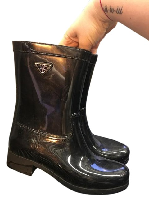 Item - Black Sport Glossy Rubber Ankle Rainboot Boots/Booties Size US 10 Regular (M, B)