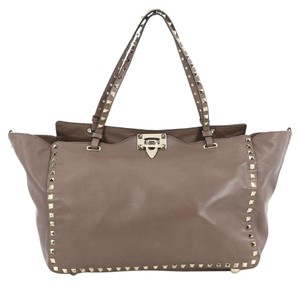 Valentino Leather Tote in Taupe