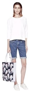 French Connection Blue Denim Stretch Stonewash Mini/Short Shorts Stonewash/Blue