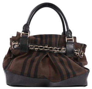 Burberry Canvas Satchel in Brown and Black