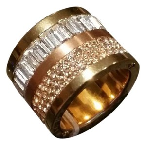 Michael Kors Michael Kors Rose Gold Tone Crystal Baguette Barrel Ring Pave Size 5