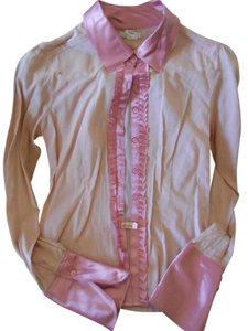 Lux Lux Lux Lux Tuxedo Ruffle Button Down Shirt Pink