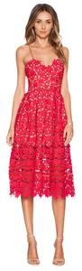 self-portrait short dress Red Lace Floral Midi on Tradesy