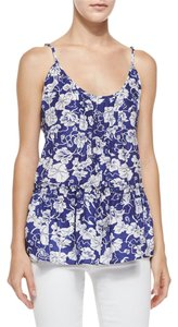 Calypso St. Barth Floral Silk Top BLUE AND WHITE