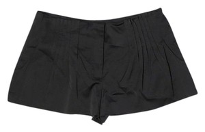 Elizabeth and James Satin Silky Pleated Mini/Short Shorts Black