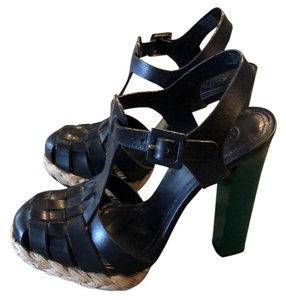 Tory Burch navy and green Platforms