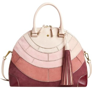 Tory Burch Summer Suede Tassels Satchel in Pink