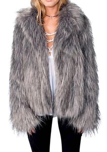 Show Me Your Mumu Faux Fur Shimmering Silver Silver Fox Park Ave Bohemian Swing Coat Gray Jacket