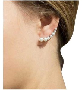 coreana 925 Silver Graduated Cultured Freshwater Pearl Ear Climbers