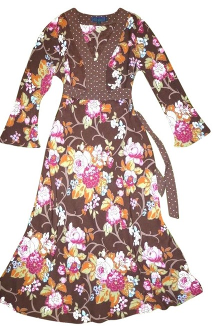 Item - Brown Floral Bow-tie 3/4 Bell Sleeve Us Vintage Style Mid-length Night Out Dress Size 6 (S)
