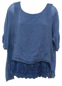 Carla Conti Lace Lace Trim Flowy Layered Top Blue