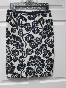 Tory Burch Spring Floral Skirt White Background Blue Flowers