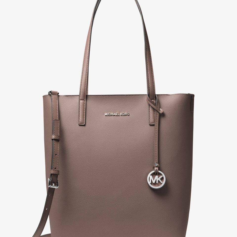 57fd8371dfd682 Michael Kors Hayley Large North South Cinder/Cement Leather Tote ...