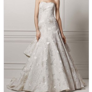 Oleg Cassini Strapless Ivory Brocade Wedding Dress