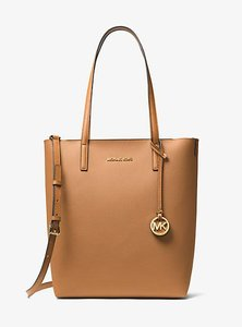 Michael Kors Hayley Acorn Leather Tote in ACORN/OYSTER