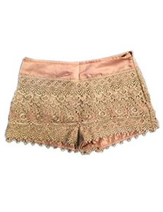 Other Bohemian Lace Crochet Mini/Short Shorts BeigeGold