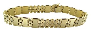 Other 14KT SOLID YELLOW GOLD BARS LINK BRACELET BANGLE 31.5 GRAMS JEWELRY DD ITALY