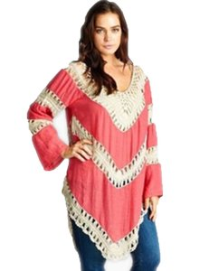 Velzera Tunic Crochet Lace Top Coral