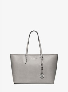 Michael Kors Saffiano Leather Jet Set Travel Tote in SILVER