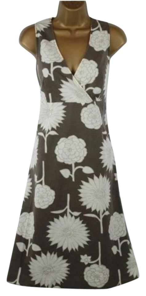 88d49d02b54 Boden Brown Taupe Floral Sleeveless Crossover V-neck Tea Sundress Us Short  Casual Dress