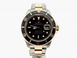 Rolex Mens Rolex Two-Tone 18K/SS Submariner Black 16613