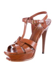 Saint Laurent Tribute Brown High Heel Brown Leather Sandals