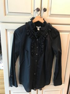 J.Crew Cotton Ruffle Button Down Shirt black