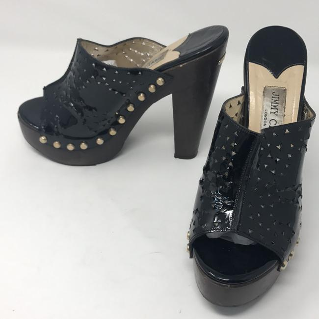 Item - Black Patent Leather with Gold Stud Accent Wood Mules/Slides Size US 9