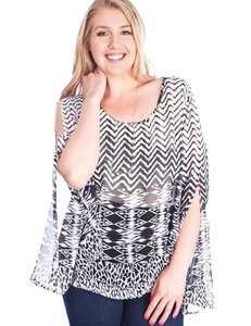 Ikat Chevron Plus Top Black