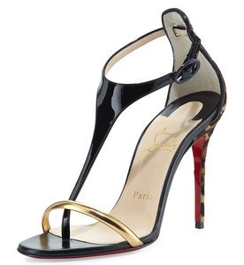 Christian Louboutin Leather Black, Gold, Leopard Sandals