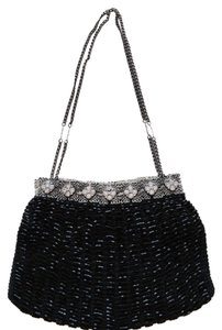 La Regale Beaded Chain Handle Beaded Mesh Wristlet Black Clutch