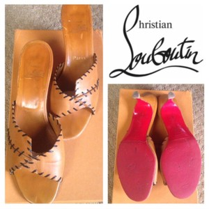 Christian Louboutin Tan brown with black stitching Mules